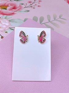 Brinco mini borboleta esmaltada - rosa