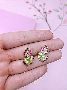 Brinco mini borboleta esmaltada - verde