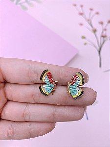 Brinco mini borboleta esmaltada - verde tiffany