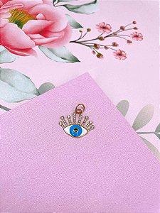 Pingente dourado de Olho Grego  azul esmaltado com strass