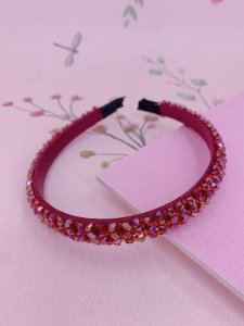Arco fino com miçangas- preto, rosa, bege, bordô, colorido ou azul