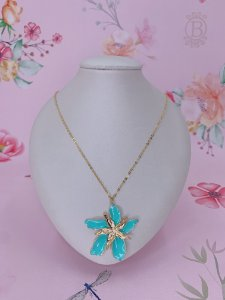 Colar dourado Flor de Maio esmaltado-verde tiffany ou bege