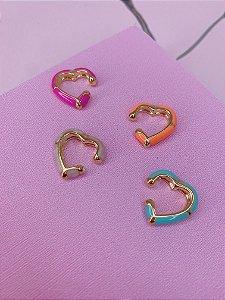 Piercing fake coração esmaltado- branco, laranja, verde tiffany ou pink
