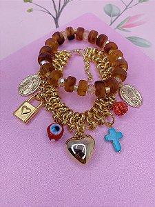 Kit 2 pulseiras elos trançados dourado com pingentes e miçangas- marsala,rosê ou marrom