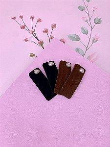 Tic-tac retangular camurça com coração de pérola-preto ou marrom