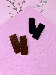 Presilha tic-tac retangular camurça-preto ou marrom