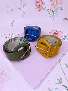 Cinto fivela redonda- verde,amarelo ou azul