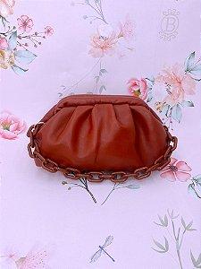 Bolsa Pouch Bag com alça em acrílico - terracota, marrom escuro, off white, caqui, preto ou marrom