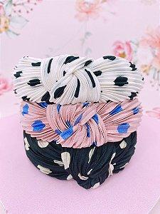Arco tecido com  estampa de poá-preto com branco,branco com preto ou rosa com azul
