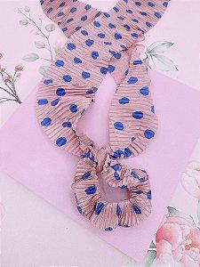 Scrunchie com lenço em poá - rosa com azul, verde com marrom ou branco com preto