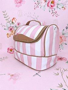 Necessaire frasqueira oval listrada com alça tira colo - azul, rosa ou bege