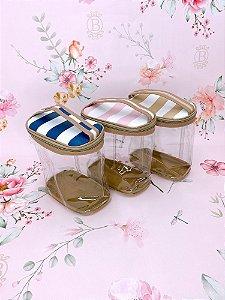 Necessaire frasqueira média transparente listrada - azul, rosa ou bege