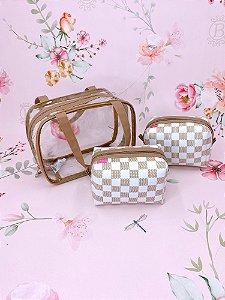 Kit Necessaire maleta duo média quadriculada em bege com branco