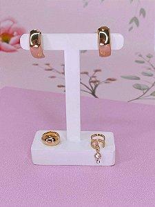 Brinco kit de argolinha com 2 piercings fake dourados