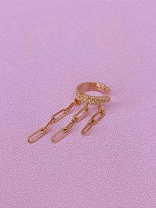 Piercing fake dourado com strass e franjas de mini elos