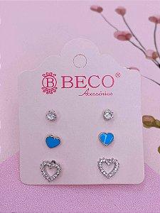 Brinco trio prata de pedra e corações- azul, branco, verde, rosa ou preto