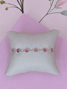 Pulseira prata com pedrinhas tiffany - rosa ou branco