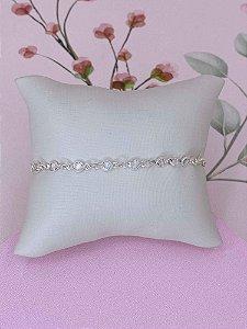 Pulseira prata com pedrinhas tiffany menores transparente