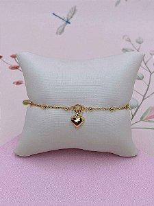 Pulseira dourada mini bolinhas e pingente de coração