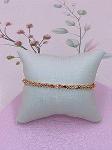 Pulseira dourada de cordão médio baiano