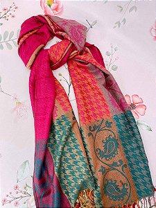 Lenço de inverno Pied de Poule com folhas - rosa, dourado e verde