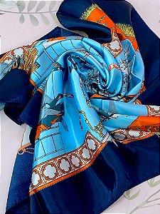 Lenço Haras - laranja ou azul