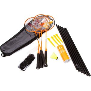 KIT BADMINTON 4 RAQUETES  3 PETECAS NYLON VOLLO
