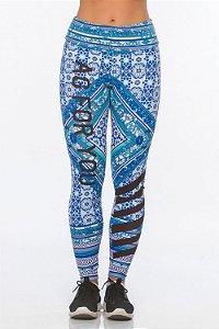 Calça Legging Alto Giro Folk Blue