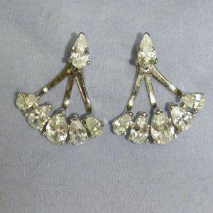 Brinco de Prata ear jacket  gotas em zircônia - IRRESISTÍVEL !!! FICA LINDO !!!