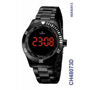 Relogio Digital CH48073D Champion Preto Redondo Digital LED
