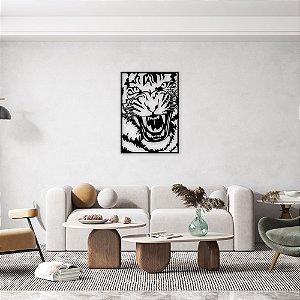 Face Tigre Furioso Quadro Decorativo em madeira
