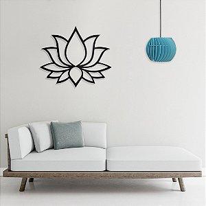 Quadro Decorativo Flor De Lótus em madeira