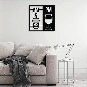 Quadro Am/Pm Café E Vinho em madeira