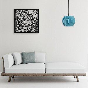 Quadro Decorativo Tigre Caçador em madeira