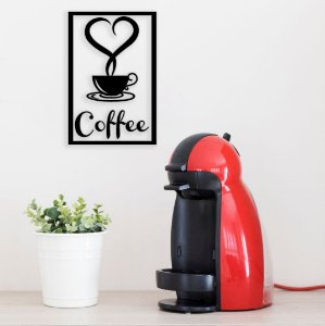 Love Coffee Escultura De Parede em madeira