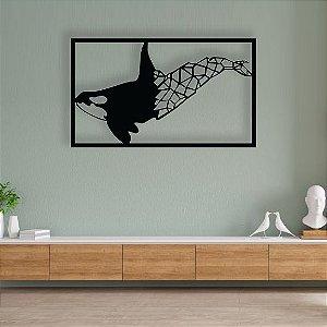 Baleia Moby Dick Cachalote Jubarte Escultura Parede em madeira