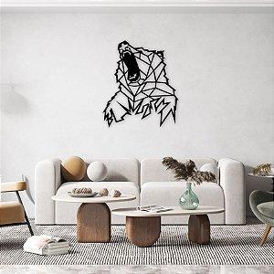 Urso Geométrico Decoração Escultura De Parede em madeira
