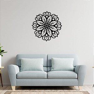 Quadro Decorativo Mandala Floral Em Madeira