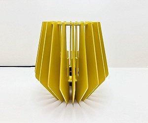 Abajur Luminária de Mesa SunFlower em Madeira Amarelo
