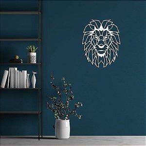 Escultura de Parede Leão Geométrico Aplique 80cm Pintado mdf 6mm