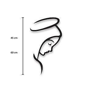 Escultura de Parede Perfil Nossa Senhora em madeira