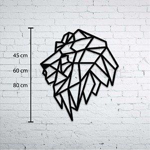 Escultura de Parede Leão Geométrico Perfil