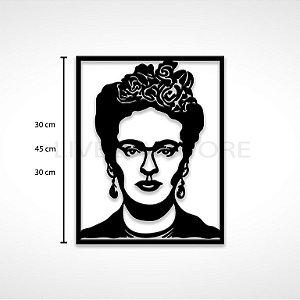 Quadro Decorativo Frida Kahlo em madeira