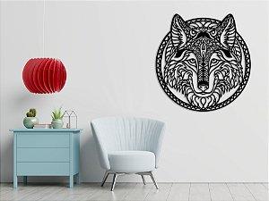 Quadro decorativo escultura de parede Lobo vazado em madeira