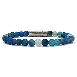 Pulseira de Pedra Natural Ágata Azul Mesclada