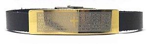 Pulseira de Couro com Placa em Aço Inoxidável. Oração do Pai Nosso