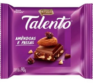 CHOCOLATE BARRA GAROTO TALENTO AMEIXA PASSAS 90G