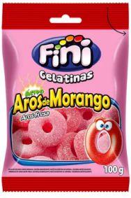 BALA GELATINA FINI AROS MORANGO 100G