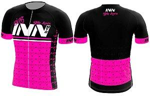 Camisa Ciclismo Zíper Longo INN Cycle Sport Ref.016 Rosa