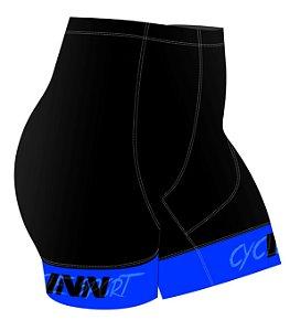 Bermuda Ciclismo Feminina Cor Preta com Barra Azul